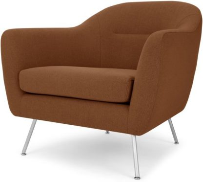 An Image of Reece Armchair, Mina Burnt Orange with Metal Legs