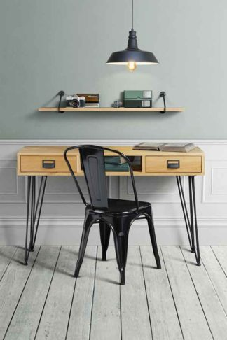 An Image of Felix Industrial Console Table - Solid oak and steel
