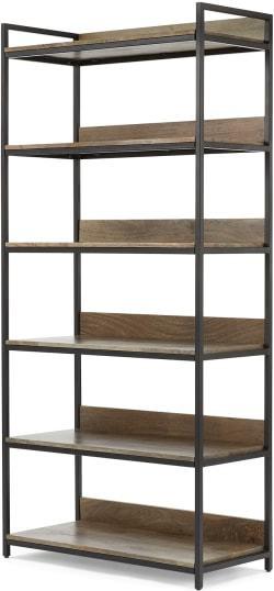 An Image of Lomond Modular Wide Shelves, Mango Wood and Black