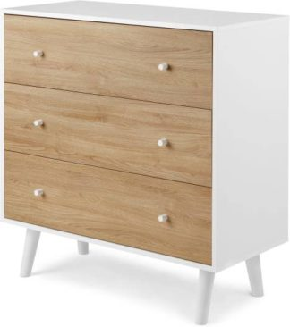An Image of MADE Essentials Larsen Chest Of Drawers, Oak Effect and White