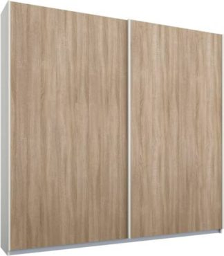 An Image of Malix 2 door 181cm Sliding Wardrobe, White frame,Oak doors , Classic Interior