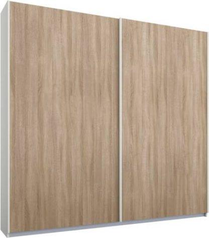 An Image of Malix 2 door 181cm Sliding Wardrobe, White frame,Oak doors, Standard Interior