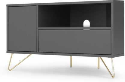 An Image of Elona Corner Media Unit, Charcoal and Brass