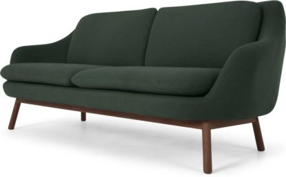 An Image of Oslo 3 Seater Sofa, Woodland Green with Dark Stained Legs