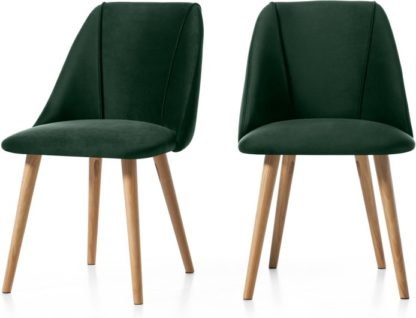 An Image of Set of 2 Lule Dining Chairs, Pine Green Velvet and Oak