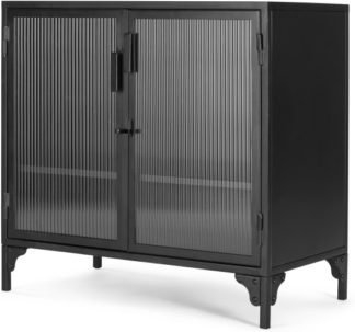 An Image of Rankin Compact Cabinet, Ribbed glass and Black metal