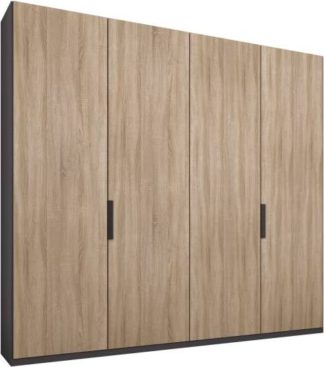 An Image of Caren 4 door 200cm Hinged Wardrobe, Graphite Grey Frame, Oak Doors, Premium Interior
