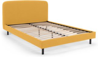 An Image of MADE Essentials Besley Double Bed, Yolk Yellow