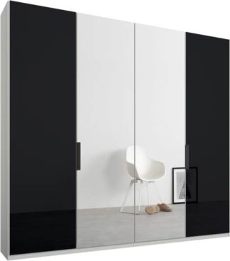 An Image of Caren 4 door 200cm Hinged Wardrobe, White Frame, Basalt Grey Glass & Mirror Doors, Standard Interior