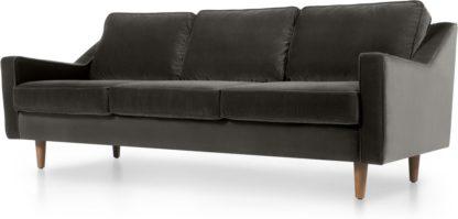 An Image of Dallas 3 Seater Sofa, Concrete Cotton Velvet