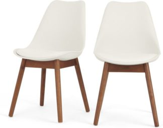 An Image of Set of 2 Thelma dining chairs, Dark Stain Oak and White