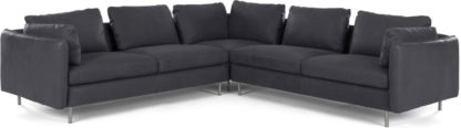 An Image of Vento 5 Seater Corner Sofa, Grey Leather
