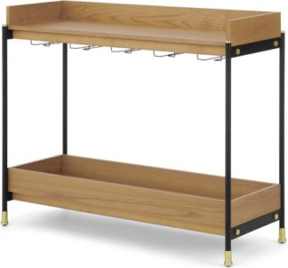 An Image of Pledger Console Bar, Black and Oak