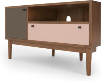 An Image of Campton Corner TV Stand, Dark Stain Oak and Pink