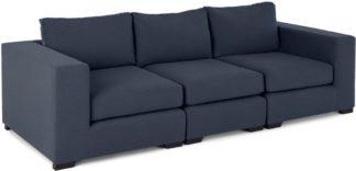 An Image of Mortimer 4 Seater Modular Sofa, Deep Blue Cotton