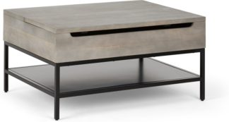 An Image of Lomond Lift Top Coffee Table with Storage, Grey washed mango wood