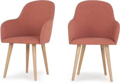 An Image of Set of 2 Stig High Back Carver Dining Chairs, Dusk Pink and Oak