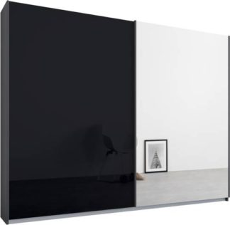 An Image of Malix 2 door 225cm Sliding Wardrobe, Graphite Grey frame,Basalt Grey Glass & Mirror doors , Premium Interior