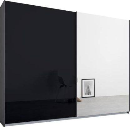 An Image of Malix 2 door 225cm Sliding Wardrobe, Graphite Grey frame,Basalt Grey Glass & Mirror doors, Standard Interior