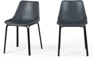 An Image of Lodi Set of 2 Dining Chairs, Grey and Black