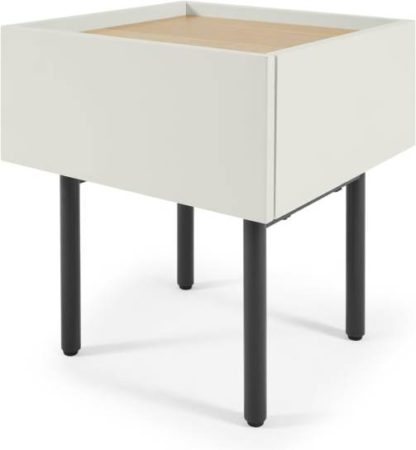An Image of MADE Essentials Mino Bedside Table, Oak and Ivory White