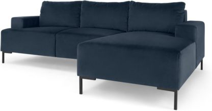 An Image of Frederik 3 Seater Right Hand Facing Compact Corner Chaise End Sofa, Sapphire Blue Velvet