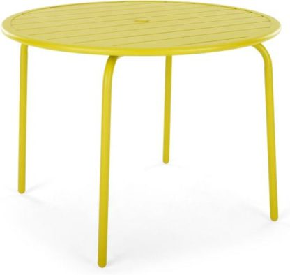 An Image of MADE Essentials Tice Garden 4 Seater Dining Table, Chartreuse