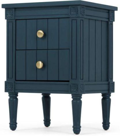An Image of Bourbon Vintage Bedside Table, Dark Blue