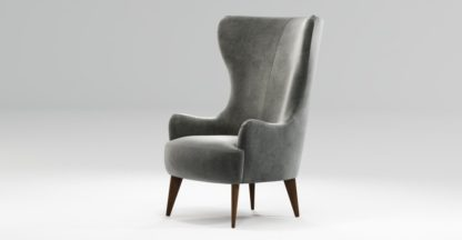 An Image of Custom MADE Bodil Accent Chair, Steel Grey Velvet with Dark Wood Leg