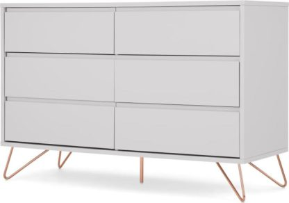 An Image of Elona 120cm Compact Wide Chest, Light Grey & Copper Legs