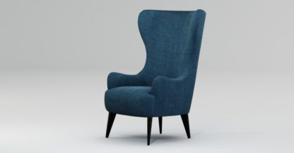 An Image of Custom MADE Bodil Accent Chair, Thames Blue with Black Wood Leg