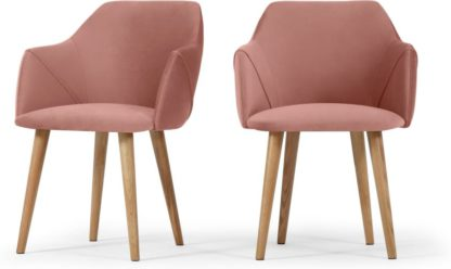 An Image of Set of 2 Lule Carver Dining Chairs, Blush Pink Velvet