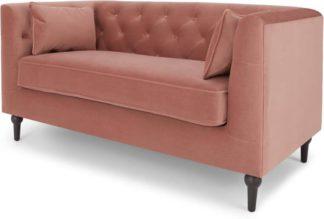 An Image of Flynn 2 Seater Sofa, Blush Pink Velvet
