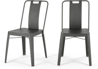 An Image of Set of 2 Edny Metal Chairs, Gunmetal