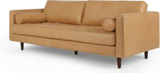An Image of Scott 3 Seater Sofa, Chalk Tan Premium Leather