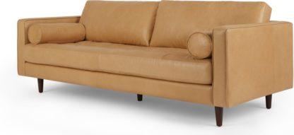 An Image of Scott 3 Seater Sofa, Chalk Tan Premium Leather