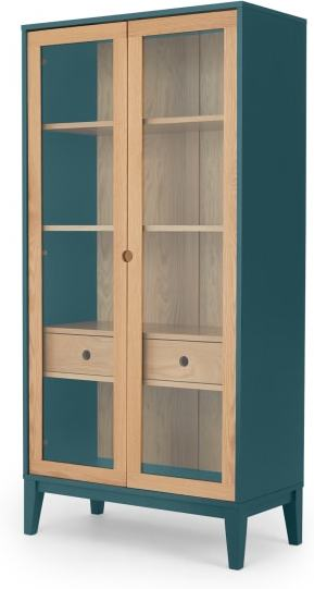 An Image of Ralph Glass Cabinet, Oak and Teal