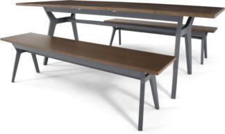 An Image of Jenson 6-8 Seat Extending Dining Table and 2 Benches, Dark Oak and Grey