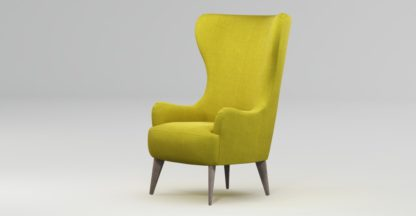 An Image of Custom MADE Bodil Accent Chair, Light Moss with Light Wood Leg