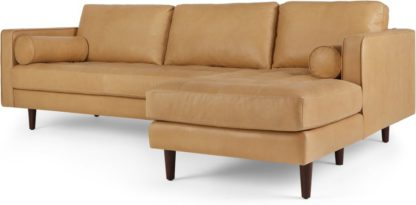 An Image of Scott 4 Seater Right Hand Facing Chaise End Corner Sofa, Chalk Tan Premium Leather