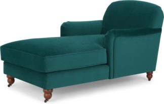 An Image of Orson Chaise Longue, Velvet Seafoam Blue