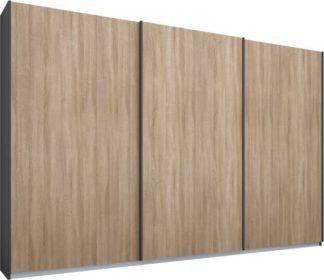 An Image of Malix 3 door 270cm Sliding Wardrobe, Graphite Grey frame,Oak doors , Premium Interior