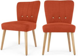 An Image of 2 x Charley Dining Chairs, Retro Orange and Beige