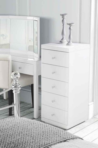 An Image of Julianna White Glass Tallboy Chest with 5 drawers