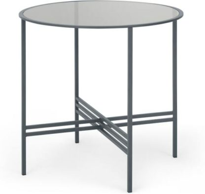 An Image of MADE Essentials Poppy 4 Seat Round Dining Table, Metal and Smoked Glass