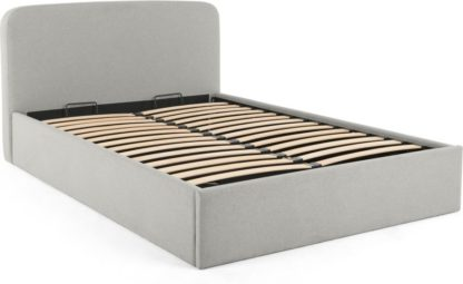 An Image of MADE Essentials Besley Double Bed with Storage, Hail Grey
