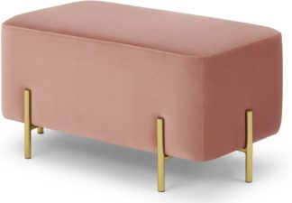 An Image of Eda Rectangle Footstool, Blush Pink Velvet with Brass legs