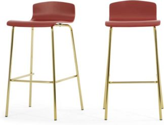 An Image of Set of 2 Syrus Barstools , Rust Red and Brass
