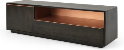 An Image of Anderson TV Stand, Mocha Mango Wood and Copper