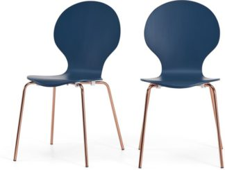 An Image of Set of 2 Kitsch Dining Chairs, Blue and Copper